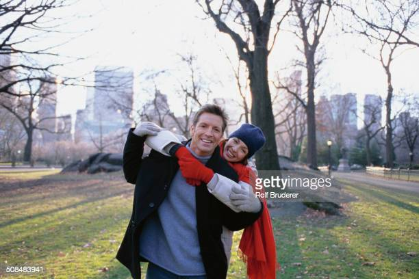 Couple hugging in Central Park, New York City, New York, United States