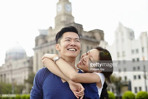 Couple hugging, The Bund, Shanghai, China