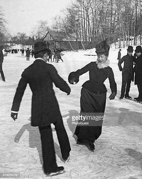 Couple ice skating in Central Park New York New York circa 1880s