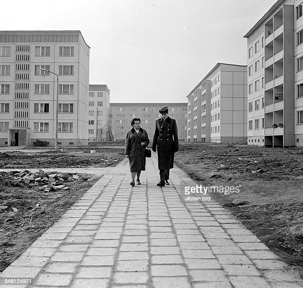 GDRA couple in a 'Plattenbau' area in Halle buildings made with precast concrete slabs which were typical for social housing architecture in East...