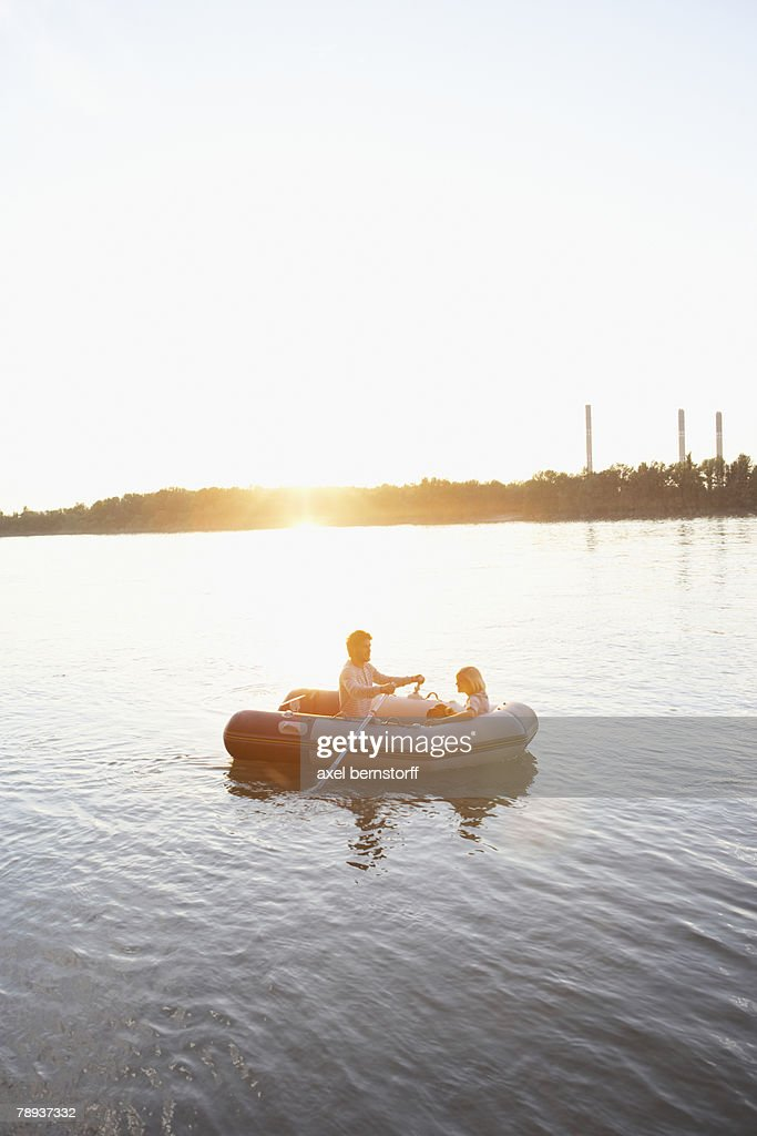 Couple in a raft. : Foto stock
