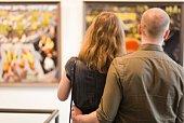 Couple in art gallery