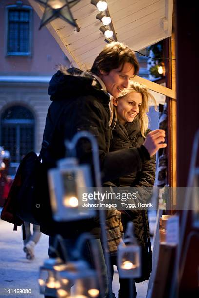 Couple in Christmas market