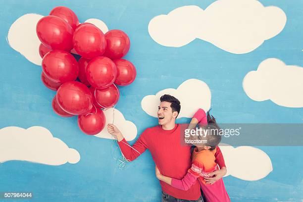 Casal do livro de banda desenhada :  Voar com balões