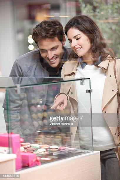 Couple in front of a bakery