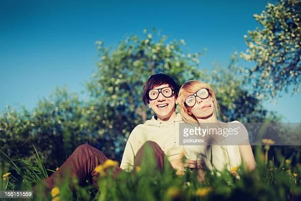 Couple avec des lunettes