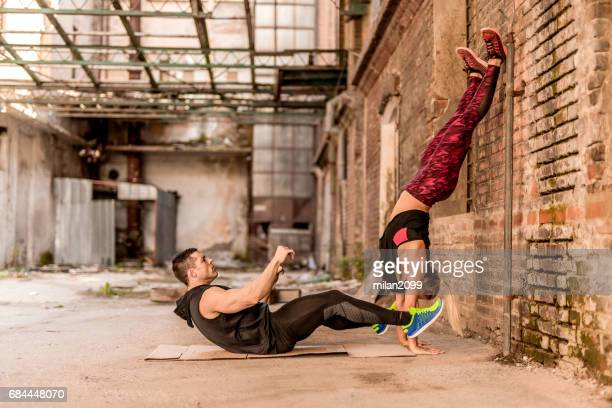 Couple in love exercising
