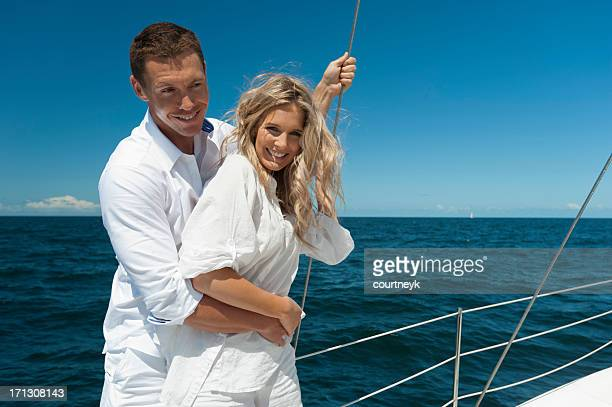 Couple in love sailing