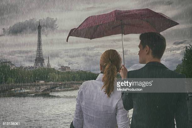 Couple in Paris on a rainy day