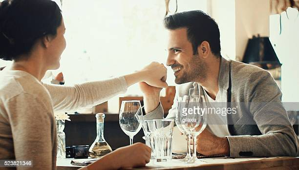 Couple in restaurant.