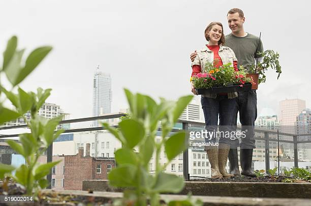 Couple in roof garden