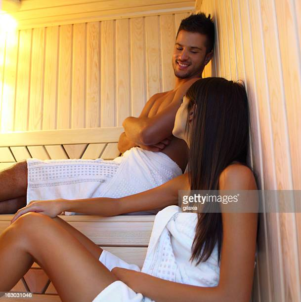 Couple in sauna.