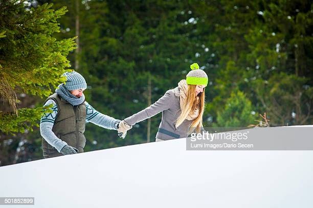Couple In Snow, Spitzingsee, Bavaria, Germany