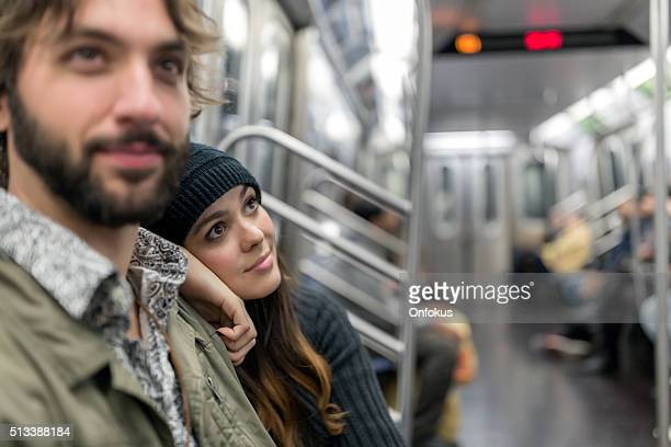 Couple in Subway Train, New York City
