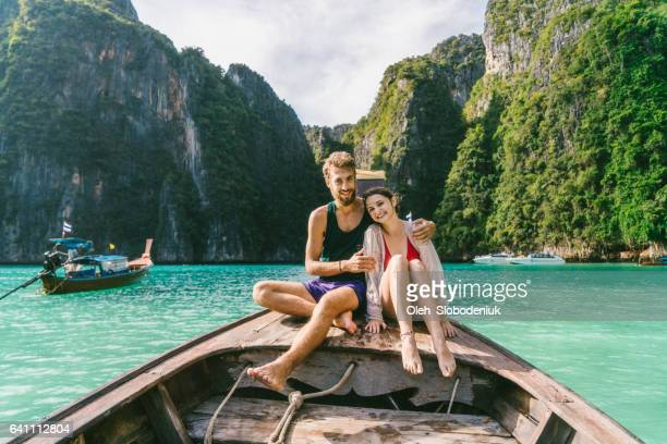 Couple in Thai Taxi Boat