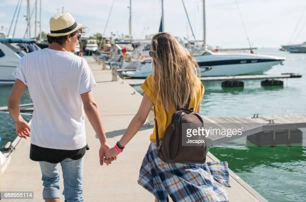 Couple in the marina on adventure
