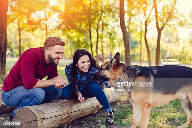 Paar im park einen Hund