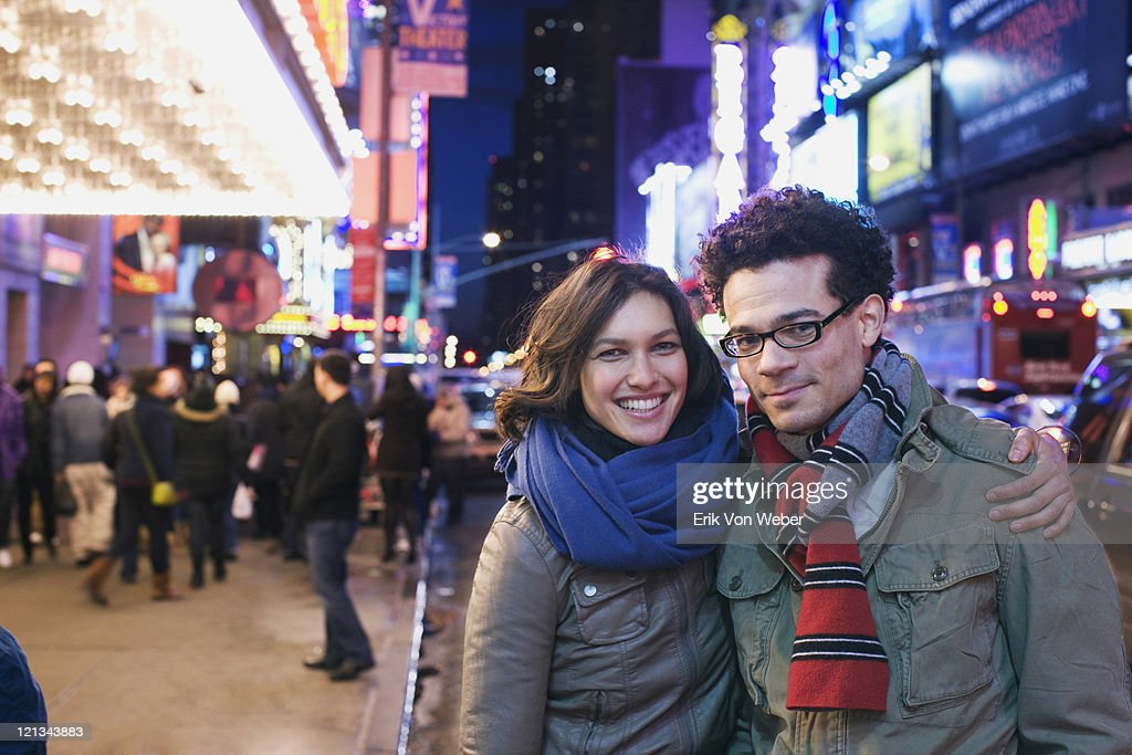 couple in times square : Stock Photo