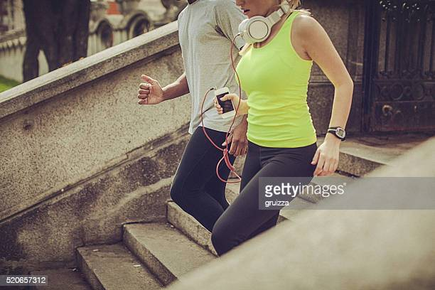 Couple jogging in the city