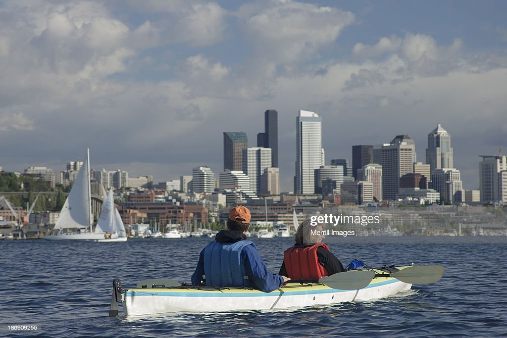 Couple Kayaking on Lake in Seattle Washington