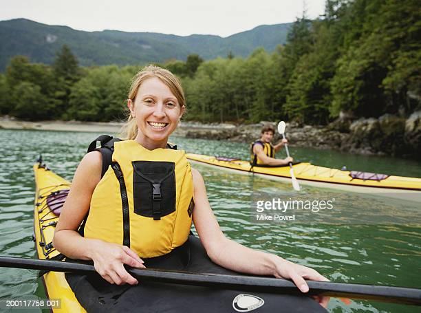 Couple kayaking, portrait, (focus on woman)