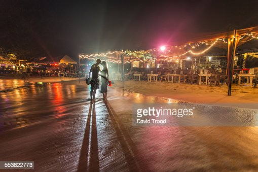 Couple kissing at night on vacation in Sri Lanka