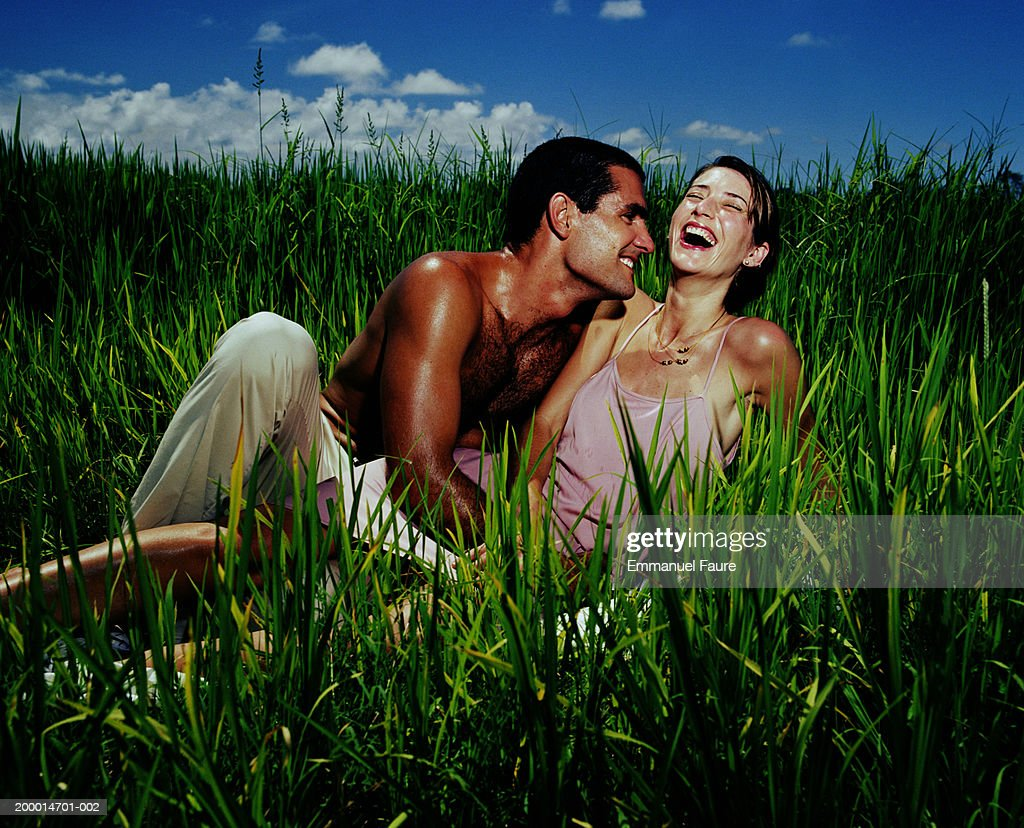 Couple laughing in rice field : Stock Photo