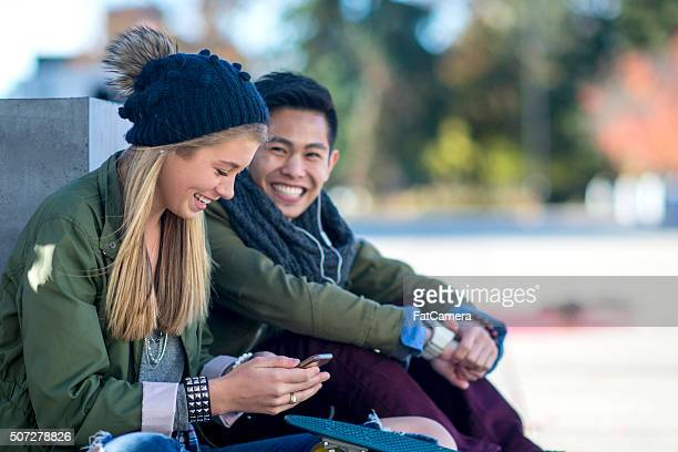 Couple Laughing Together Outside