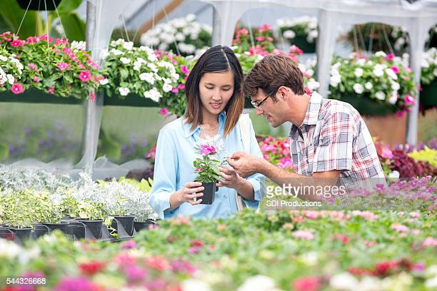 Couple look at flowers at outdoor plant nursery