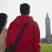 Couple looking at clock tower in London