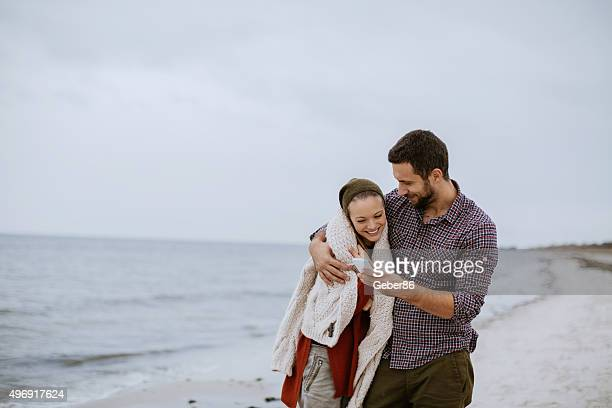 Couple looking at mobile phone