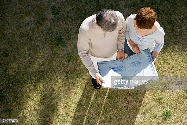 Couple looking at plans