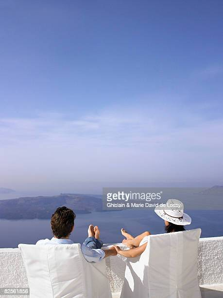 Couple looking at the sea view