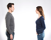 A couple looking to each other  on whitebackground