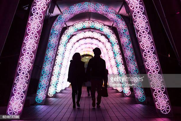 A couple looks at Christmas illuminations at night on November 20 2016 in Tokyo Japan