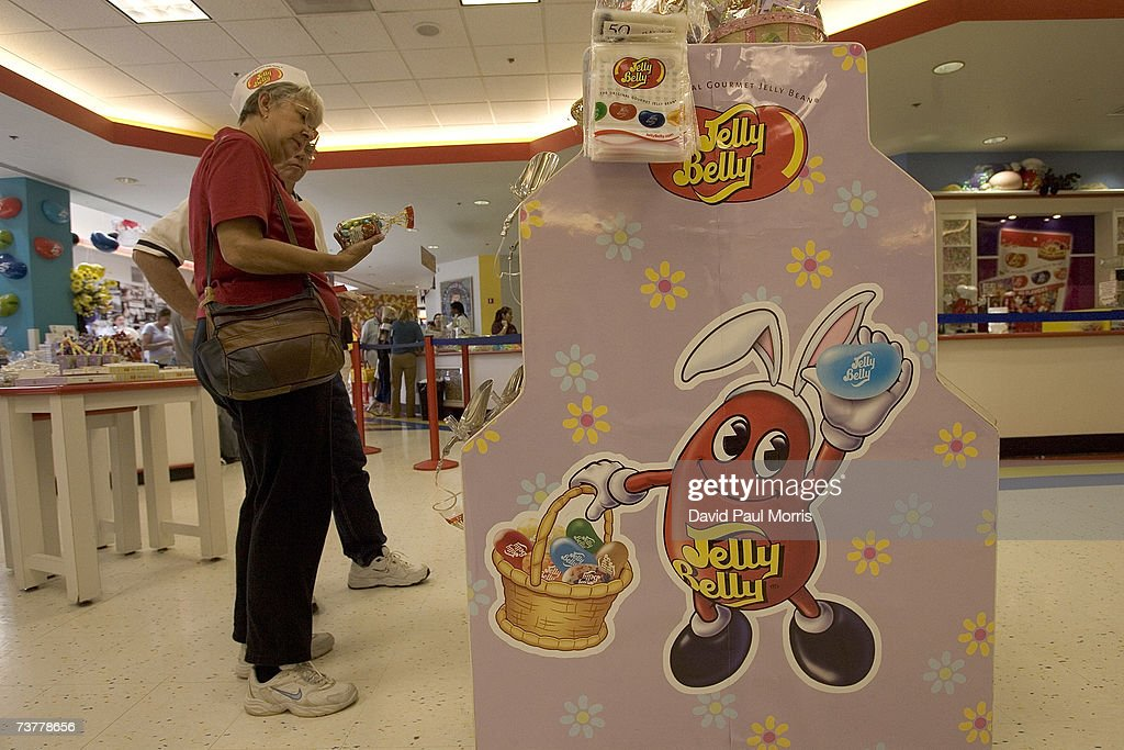 A couple looks over candy for sale at the Jelly Belly Factory April 2, 2007 in Fairfield, California. The Jelly Belly Factory produces approximately 14 billion jelly beans a year. With less than a week before Easter Sunday, retailers stock their shelves full of jelly beans, chocolates, and other traditional candies for Easter.