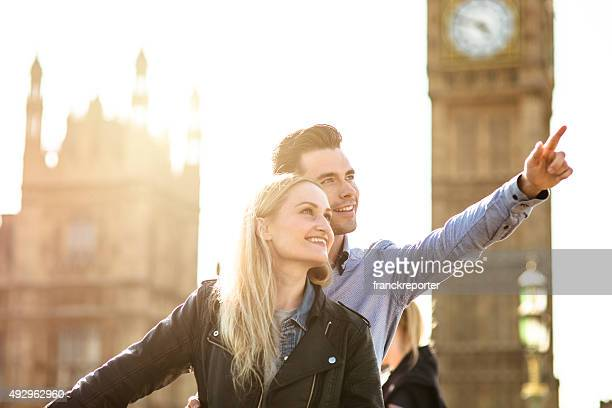 Couple loving togetherness in London