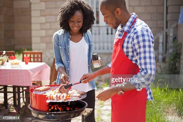 Couple make barbecue