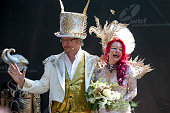 A couple married at the World Bodypainting Festival 2015 on July 5 2015 in Poertschach am Woerthersee Austria