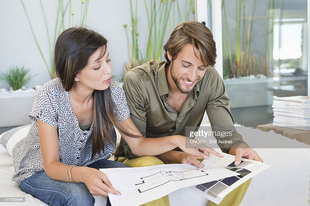 Couple matching blueprint with color swatch : Stock Photo