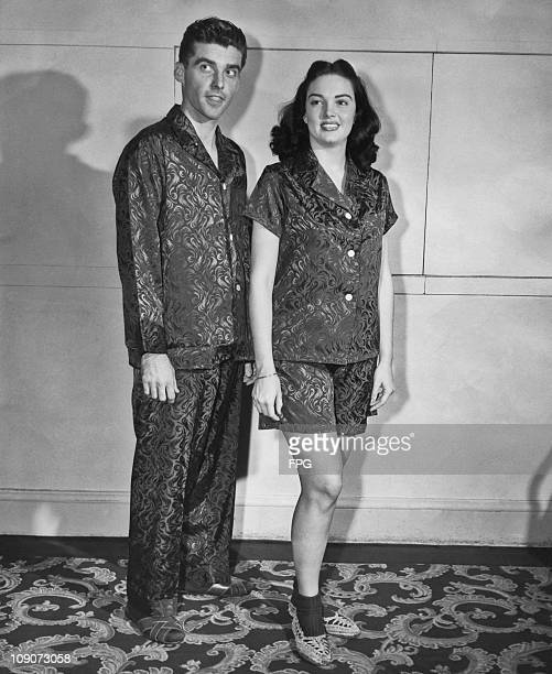 A couple modeling matching pajamas circa 1950