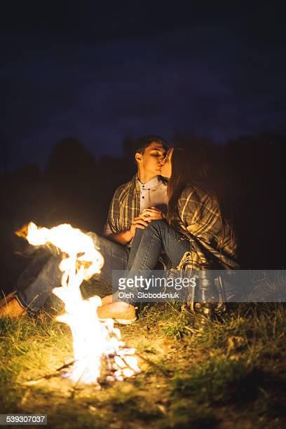 Couple near fire