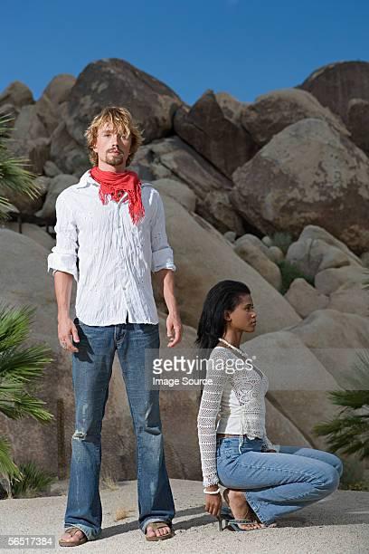 Couple near rock formation