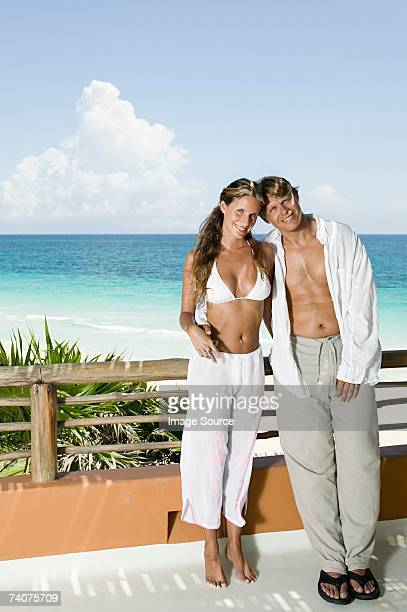 Couple near tropical beach