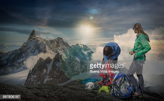 Couple of climbers in the mountains