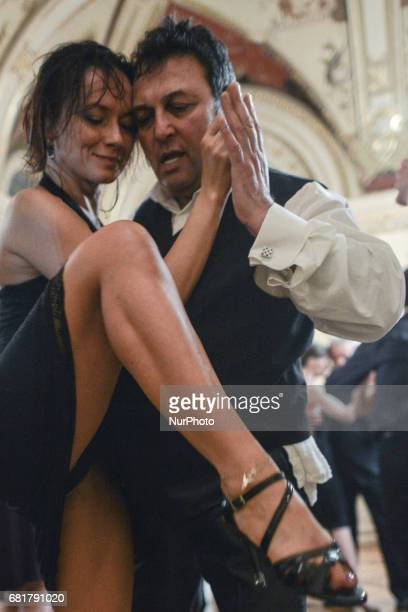 A couple of dancers perfoms Argentine tango during an evening milonga event in Juliusz Slowacki Theatre an event that was a part of Krakus Aires...