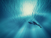 A couple of dives swim under water. This is a 3d render illustration