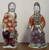Couple of European figures Famille verte enamel porcelain statues destined for the Dutch market China Chinese Civilisation Qing dynasty Kangxi reign...