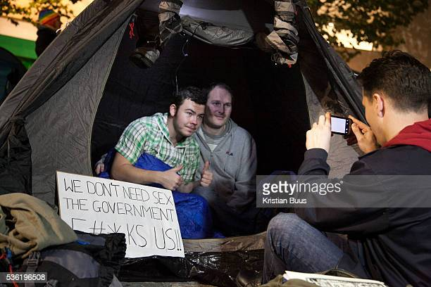 A couple of protestors in their tent The London Stock Exchange was attempted occypied in solidarity with Occupy Wall in Street in New York and in...