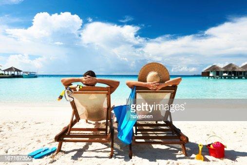 Paar auf einer Strand : Stock-Foto